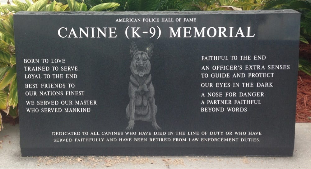 K9 Memorial at the American Police Hall of Fame
