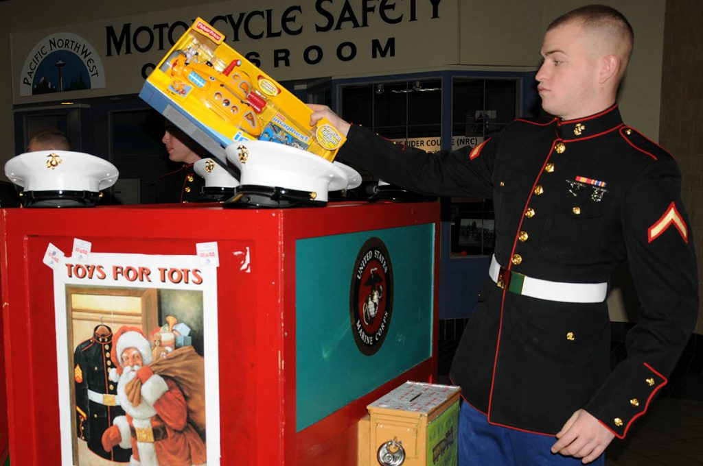 Marines collecting Toys for Tots